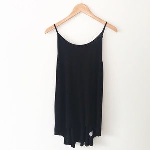 URBAN OUTFITTERS Black Ribbed Tunic Tank Top